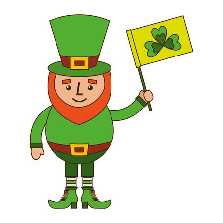 クローバーベクトルイラスト付き緑の旗を持つレプレコーンキャラクター  イラスト・ベクター素材