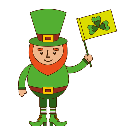 Leprechaun character holding green flag with clover vector illustration Illustration