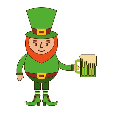 グリーンビールベクトルイラストを保持するレプレコーンキャラクター  イラスト・ベクター素材