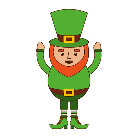 smiling leprechaun cartoon st patricks day character vector illustration
