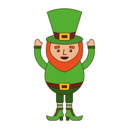 smiling leprechaun cartoon st patricks day character vector illustration