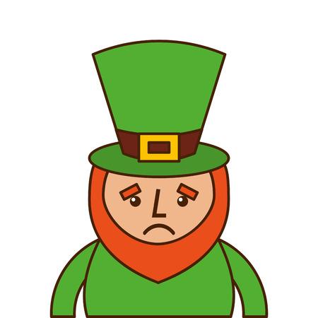 st. patricks day portrait of a sad leprechaun vector illustration