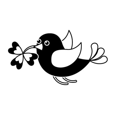 black and white bird flying with clover in beak vector illustration