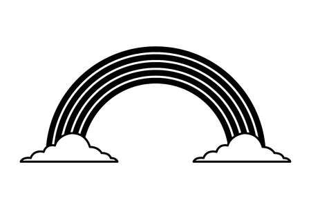 black and white rainbow color cloud magic fantasy vector illustration black and white image