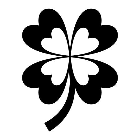 four leaves clover good fortune vector illustration  black and white image  Ilustração