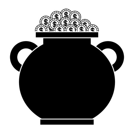 Caldeirão cheio moedas de ouro tesouro vector ilustração imagem preto e branco Foto de archivo - 94545865