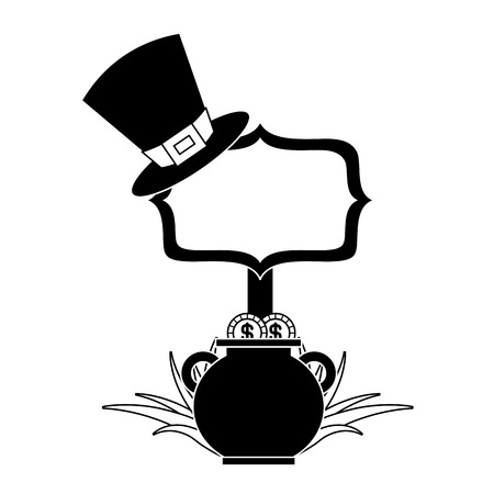 cauldron gold coins black hat and sing board vector illustration black and white image Banque d'images - 94545863