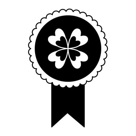 black and white rossette clover ornament medal vector illustration black and white image  イラスト・ベクター素材