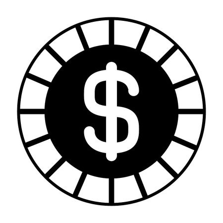 golden coin money dollar cash icon vector illustration  black and white image  Иллюстрация
