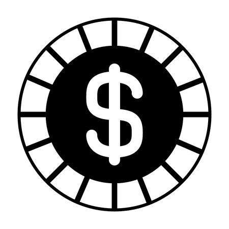 golden coin money dollar cash icon vector illustration  black and white image  Illustration