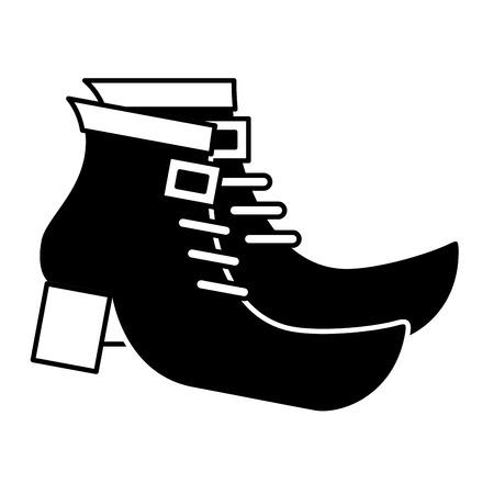 쌍 레프 러 콘 요정 벡터 일러스트 레이 션 흑백 이미지의 검은 부팅 신발