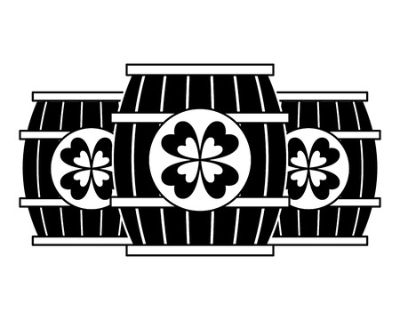 three wooden barrel drink clover vector illustration  black and white image