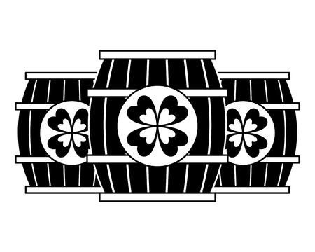 three wooden barrel drink clover vector illustration  black and white image Imagens - 94545886