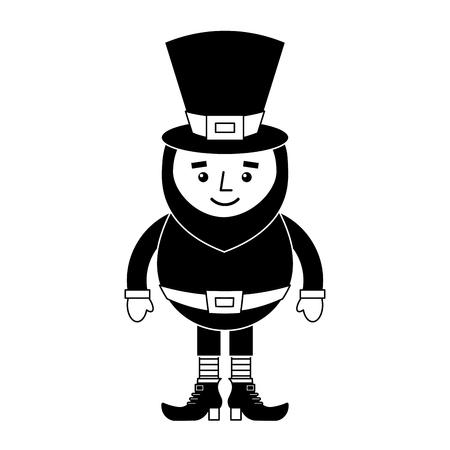 smiling leprechaun cartoon st patricks day character vector illustration  black and white image  Ilustrace