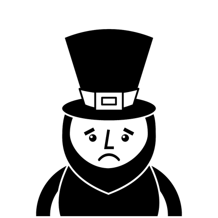 st. patricks day portrait of a sad leprechaun vector illustration  black and white image