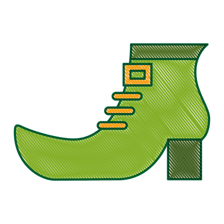 green shoe boot accessory of leprechaun vector illustration drawing image design