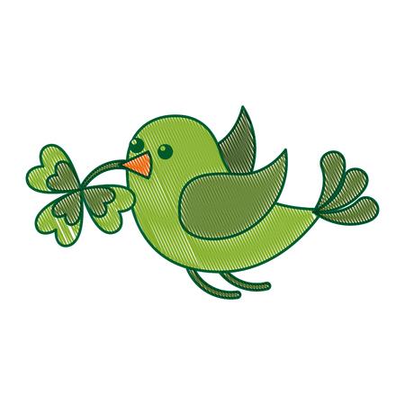 green bird flying with clover in beak vector illustration drawing image design
