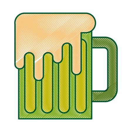 Caneca de cerveja de vidro verde beber ilustração vetorial tradicional desenho de imagem de desenho Foto de archivo - 94547053