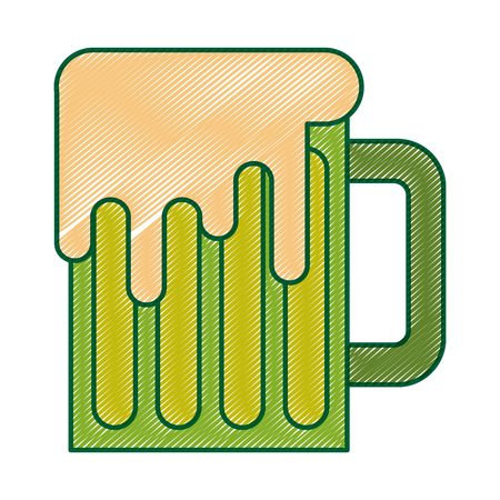 green mug beer glass drink traditional vector illustration drawing image design