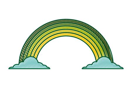 緑の虹色雲魔法ファンタジーファンタジーベクトルイラスト描画イメージデザイン  イラスト・ベクター素材