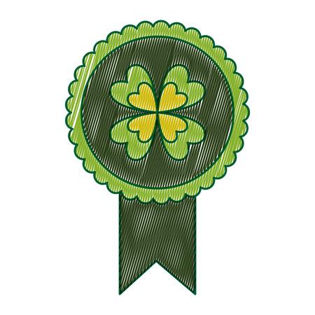 green rossette clover ornament medal vector illustration drawing image design