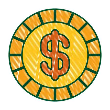 golden coin money dollar cash icon vector illustration drawing image design