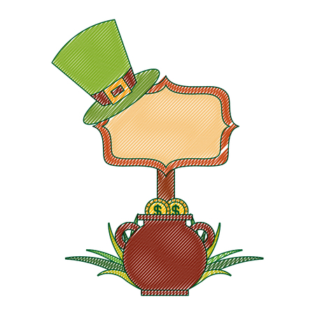 cauldron gold coins green hat and sing board vector illustration drawing image design Banque d'images - 94547071