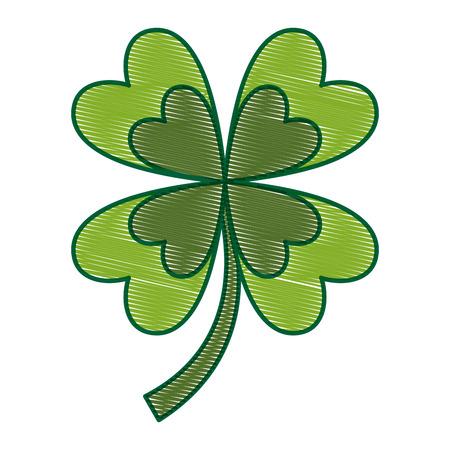 four leaves clover good fortune vector illustration drawing image design