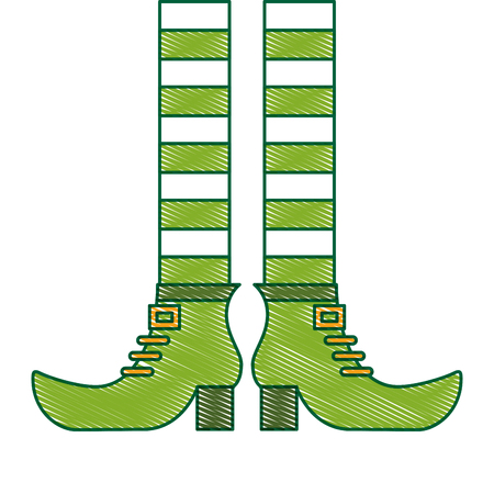 green legs and shoes of leprechaun vector illustration drawing image design Illustration