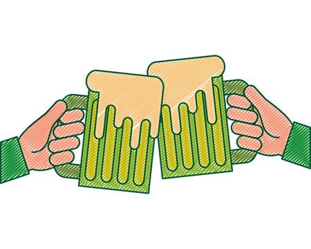 hands holding green beer mug foam vector illustration drawing image design