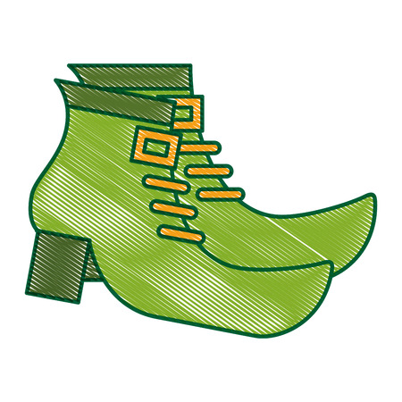 pair green boot shoes of leprechaun vector illustration drawing image design