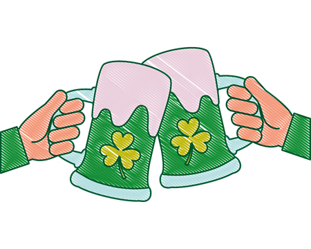 two hands holding green beer glass clover foam celebration vector illustration drawing image design