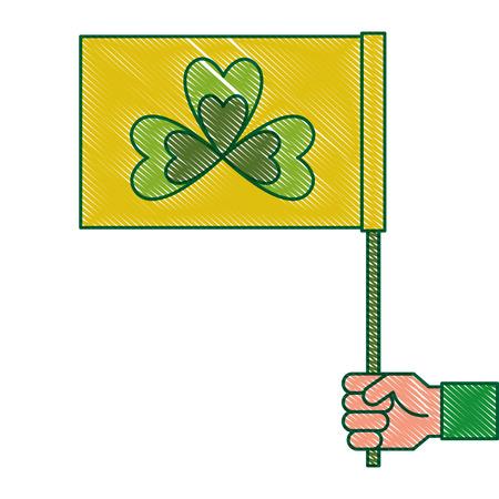 Mão segurando bandeira verde com ilustração em vetor símbolo trevo desenho desenho de imagem Foto de archivo - 94566250