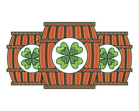 3つの木製バレルドリンククローバーベクトルイラスト描画イメージデザイン  イラスト・ベクター素材
