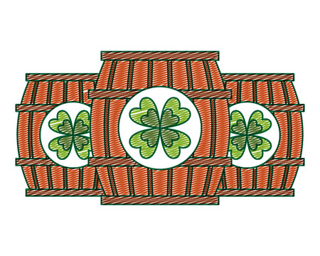 Three wooden barrel drink clover vector illustration drawing image design Imagens - 94566251
