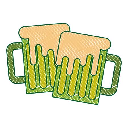 Two green beer glass foam beverage vector illustration drawing image design Ilustração