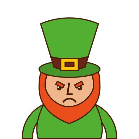 St. Patricks day portrait of a angry leprechaun vector illustration