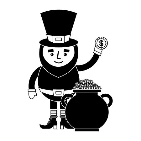 cartoon leprechaun holding gold coin and pot money st Patricks vector illustration black and white image