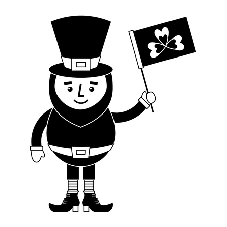 leprechaun character holding flag with clover vector illustration black and white image Illustration