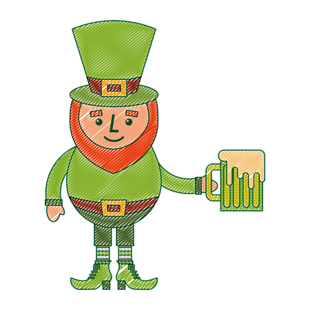 leprechaun character holding green beer vector illustration drawing image design