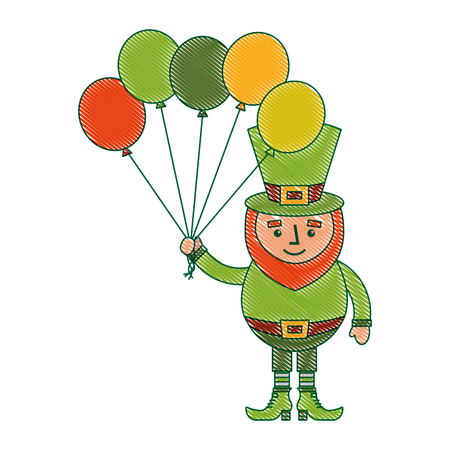 leprechaun character holding bunch of balloons celebration vector illustration Ilustrace