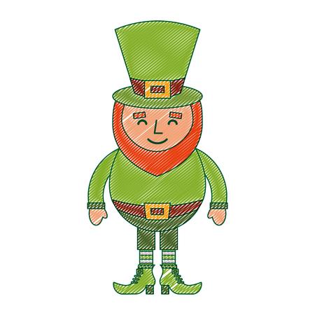 leprechaun sad cartoon st Patricks day character vector illustration Ilustrace