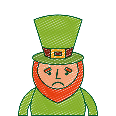 st. Patricks day portrait of a sad leprechaun vector illustration Illustration