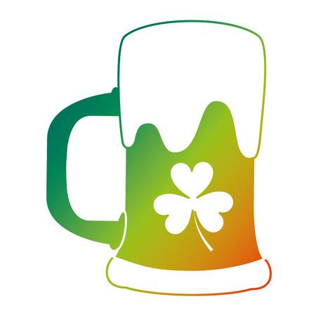 green beer glass foam and clover vector illustration  degraded color design