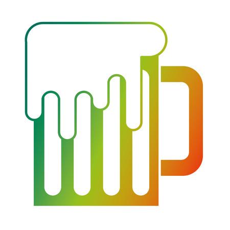 mug beer glass drink alcohol traditional vector illustration degraded color design Illustration