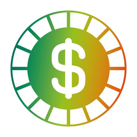 coin money dollar cash icon vector illustration degraded color design