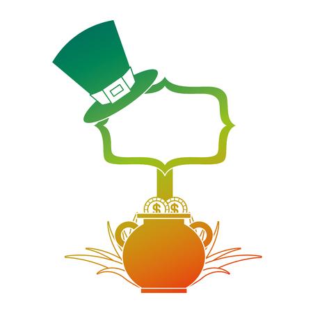 cauldron coins green hat and sing board vector illustration degraded color design Banque d'images - 94565557