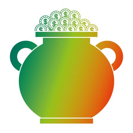 cauldron full gold coins treasure vector illustration degraded color design Illustration