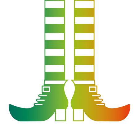 legs and shoes of leprechaun vector illustration degraded color design Illustration