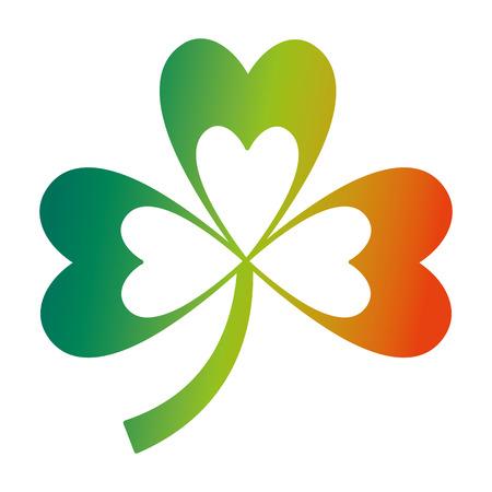 green clover three leaves luck symbol vector illustration  degraded color design